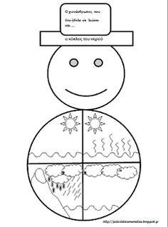 παιχνιδοκαμώματα στου νηπ/γειου τα δρώμενα: ο κύκλος του νερού και ο χιονάνθρωπος που δεν ήθελε να λιώσει, εκτυπώσιμο ... All About Earth, Winter Activities, Symbols, Letters, Education, Blog, Winter, Icons, Letter