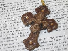 Handmade Polymer Clay Cross in Bronze by DebsFindingsAndThing, $8.99