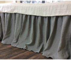 Shabby Chic medium grey bed ruffle. | Handcrafted by Superior Custom Linens