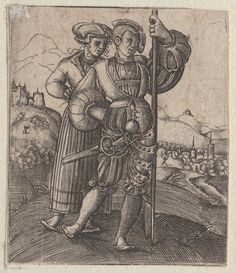 1450-1600 Landsknecht mit Frau. One of a collection of illustrations of Austrian soldiers. Soldier with his wife standing behind him, town in distance. Copyright - Anne S.K. Brown Military Collection at Brown University.