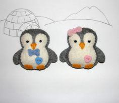 Felt Penguin Ornament, Felt Grey Penguin, Set of 2, Felt Ornament, Home Decor, Baby Shower Gifts, Birthday Gift, Housewarming, Felt Animal by NitaFeltThings on Etsy