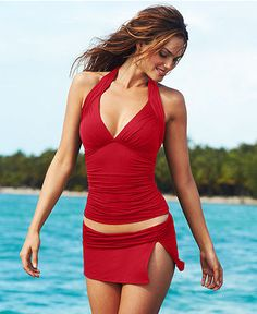 La Blanca Swimsuit, Halter Ruched Tankini Top & Banded Skirted Swim Bottom - Womens Swimwear - Macy's