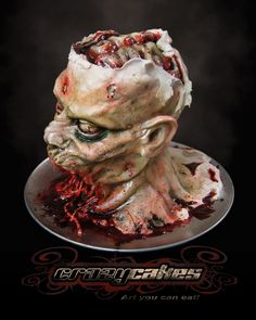 Tutorial for a Zombie head cake Cakes Pinterest Cake