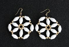 Flower paper bead earrings by MagdaCrafts on Etsy