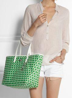 #MichaelKors #green and #white #polkadot #tote  http://rstyle.me/n/e8hpspdpe