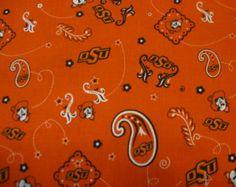 Oklahoma State University Bandana Fabric OSU Sold by the yard cut from the bolt