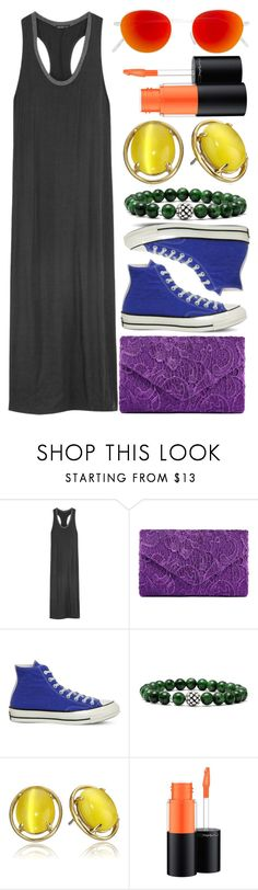 """""""Still Here, Still Queer"""" by egordon2 ❤ liked on Polyvore featuring James Perse, Converse, Lagos, Kate Spade, MAC Cosmetics and RetroSuperFuture"""