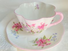 Shelley Stocks Teacup and Saucer / Shelley Dainty Shape Cup and Saucer / English Teacups / Tea Party / Bridal / Bone China Cups