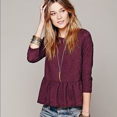 FP Textured Boxy Peplum Tee in Dusty Plum S This is a major FP score! Sold out and hard to find for sure. I love the fit. It's slightly cropped but the peplum is cute over high waisted jeans. The faded purple color is how it came - gives it a textured feel. Definitely a must have for a FP lover. Free People Tops Crop Tops