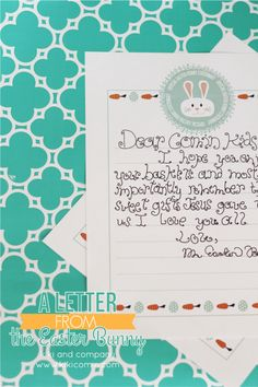 A Letter from the Easter Bunny. Free printable. Cute!