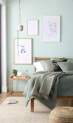 3 Style Tips for Mindfulness in Your Home Bergamo Oak Bed Sage Green Bedroom, Green Bedroom Decor, Bedroom Wall Colors, Room Ideas Bedroom, Home Decor Bedroom, Forest Green Bedrooms, Room Color Ideas Bedroom, Green Bedroom Walls, Decor Room