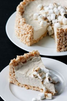 Toasted Marshmallow No Bake Cheesecake: Genius creation involving a crust made of Rice Krispie Treats and a vanilla bean toasted marshmallow no bake cheesecake.