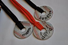"Made from 2"" washers. Cover with epoxy for the clear shell. Use old t shirt material for the cord. Make softballs!"