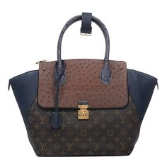 Louis Vuitton Exotic Monogram Majestueux Tote Bag in Blue with Golden Brass Hardware #louisvuitton
