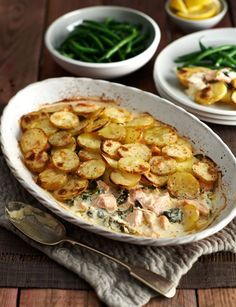 Salmon, spinach and crème fraîche bake - Sainsburys Magazine cooking recipes Salmon Dishes, Fish Dishes, Seafood Dishes, Seafood Recipes, Salmon Pie, Salmon Potato, Baked Salmon, Main Dishes, Veggie Recipes
