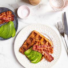 sweet potato waffles with crispy bacon and avocado