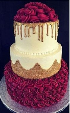 wedding cakes ideas Gold, red, and cream cake decorating - - Fancy Cakes, Cute Cakes, Pretty Cakes, Beautiful Cakes, Amazing Cakes, Beautiful Flowers, Birthday Cake Decorating, Cake Birthday, Birthday Ideas