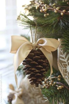 Christmas decorations - lovely homemade pine cone decorations with ribbon bows Pine Cone Decorations, Homemade Christmas Decorations, Diy Christmas Ornaments, Rustic Christmas, Christmas Wreaths, Ornaments Ideas, Elegant Christmas, House Decorations, Christmas Centerpieces