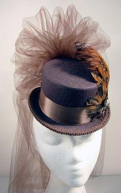 Brown-on-Brown Ladies Petite Victorian Steampunk Top Hat