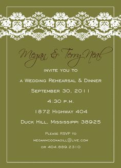 Green and lace wedding invitation