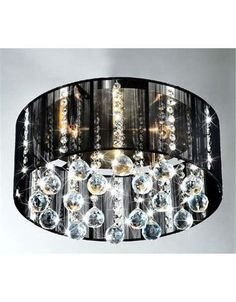 5 Light Black Drum Crystal Chandelier Pendant Fixture Flush Lighting NWO1800 | eBay