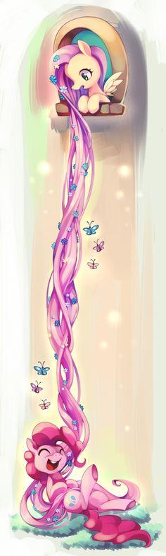 #728035 - artist:huaineko, butterfly, duo, flower in hair, fluttershy, impossibly long hair, laughing, long hair, long mane, pinkie pie, pixiv, rapunzel, safe, tower, underhoof - Derpibooru - My Little Pony: Friendship is Magic Imageboard