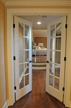 bedroom with interior french doors privacy - Google Search | Baby ...