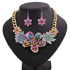 collar de la aleación de impresión color de la flor de la moda (incluye collar&pendientes) de la joyería de