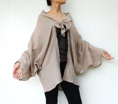 NO89    Sand Cotton Kimono Blouse Tie  Front  by JoozieCotton, $43.00