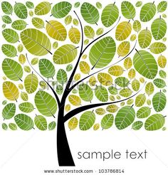 Spring Tree With Bright Leaves Stock Vector 103786814 : Shutterstock