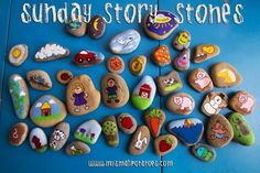 "Rock Painting- ""story stones"" what a great and fun way to teach our kids bible stories...I could easily come up with ""templates"" or patterns for the girls to follow- this would be a great way to make a kid friendly Christmas or Easter story to share with your family :D"