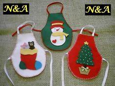 N&A artesanatos: Avental de Garrafa em Feltro - Natal: