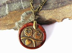 Owl Necklace Rosewood Eco Friendly Wood Brass Owls by Hendywood, $25.00