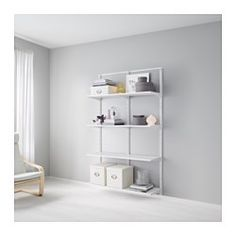 IKEA - ALGOT, Wall upright/shelves, The parts in the ALGOT series can be combined in many different ways and easily adapted to your needs and space.Since you only need to click in the brackets, shelves and accessories, it is easy to assemble, adjust and change your storage solution.Can be used anywhere in your home, even in damp areas like the bathroom and under covered balconies.Can also be used in bathrooms and other damp indoor areas.You click the brackets into the ALGOT wall upright...