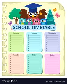 Weekly school timetable subject 7 vector image on VectorStock
