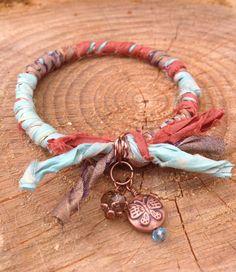 Recycled Sari Ribbon Wrapped Bangle Bracelet by EsKayDesignsSK, $14.00