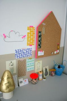 House corkboard. A fun DIY.. Would be great in the kids playroom. Paint the sides of the cork board to match the room.