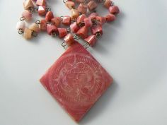 Stone Coral Etched Long Necklace