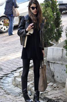 Maritsa - Valentino boots,  MMM for H+M leather jacket