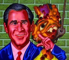 """'Dali Advises the President' by Peter Saul, 2004.   Often referred to as the one of the """"fathers"""" of Pop Art, painter and illustrator Peter Saul has been creating his mayhemic, often politically charged masterpieces since the 1950s and at his current age of 82 (Saul will turn 83 in August), he shows no signs of slowing down.    'Ronald Reagan (Abortion),' 1984.   Saul's vibrantly jarring style will likely remind you of the weirdness found on the pages and on the covers of vintage Zap…"""