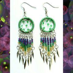 Green Dreamcatcher Earrings Dream Catcher