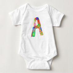 #cute #baby #bodysuits - #Letter A | Colorful Watercolor Paint Baby Bodysuit