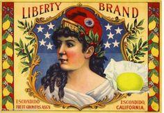 Escondido San Diego County Liberty Girl 2 Lemon Citrus Fruit Crate Label Print | eBay