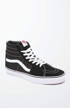 1b2e725cf27a76 Vans Sk8-Hi Canvas Black   White Shoes