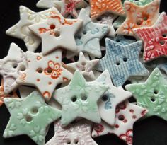 Handmade Porcelain Ceramic Star Buttons great for crafts upcycle clothing scrapbook embellishments