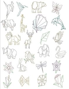 Trendy Ideas For Origami Dessin Animal Origami Design, Diy Origami, Origami Folding, Paper Folding, Origami Paper, Origami Tattoo, Geometric Drawing, Geometric Shapes, Geometric Tattoo Animal
