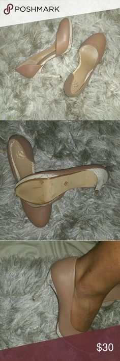 Leather Heels Nude Snake Print Ann Taylor Never worn outdoors Leather upper Very comfortable  About 3 1/2 inches Ann Taylor Shoes Heels
