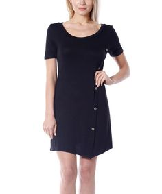 Black Button-Up Shift Dress #zulily #zulilyfinds