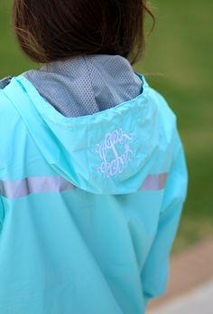 Monogrammed New England Rain Jacket in Aqua from Marleylilly.com!