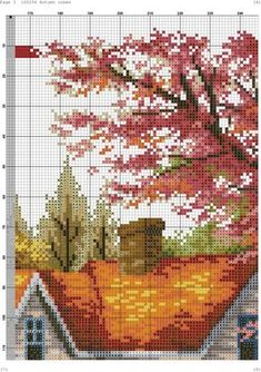 landscape - x stitching cro Cross Stitch Charts, Cross Stitch Designs, Cross Stitch Patterns, Cross Stitch Landscape, Cross Stitch Flowers, Pixel Art, Scenery, Angeles, Photo Wall
